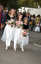 BRIDESMAIDS at the wedding of Clementine Hambro to Orlando Fraser at St.Margarets Westminster Abbey, London on 3rd November 2006.<br />