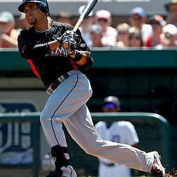 March 26, 2012; Lakeland, FL, USA; Miami Marlins second baseman Omar Infante (12) grounds out during the top of the first inning of a spring training game against the Detroit Tigers at Joker Marchant Stadium. Mandatory Credit: Derick E. Hingle-US PRESSWIRE