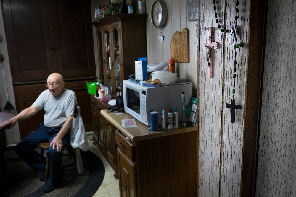Frank Purrachio, 86, reminisces about the old days in his home in West Aliquippa, PA. Purrachio, a retired millwright from the J&L Steel Works, has lived in West Aliquippa all of his life with the exception of a few years in the Marine Corps.