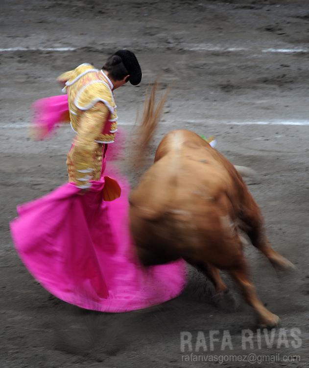 French matador Sebastian Castella gives a capote pass to an El Ventorrillo fighting bull, during a corrida at the Vista Alegre bullring in Bilbao, northern Spain, on August 19, 2009. PHOTO/Rafa Rivas