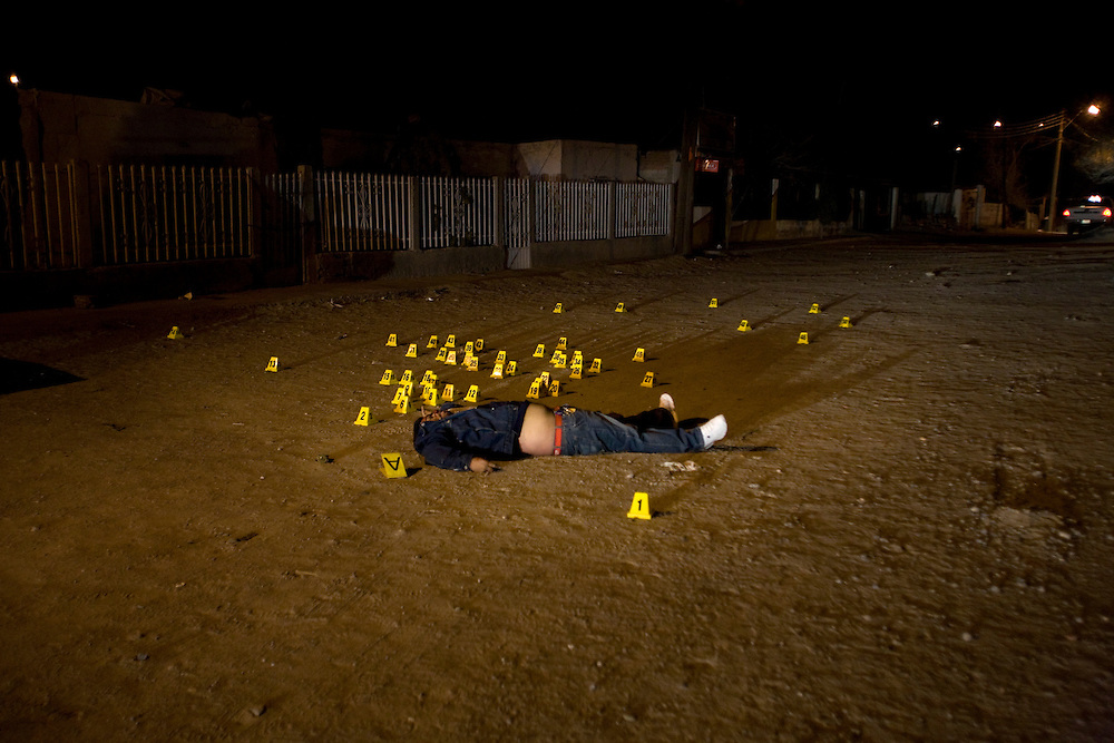 Body of a man that was assassinate as part of the war between the drug cartels in Juarez Mexico .Sunday December 21,2008