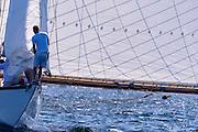 Spartan sailing in the Newport Classic Yacht Regatta, day one.