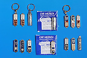 Keyring Mezuza Israeli amulets and souvenirs on blue background
