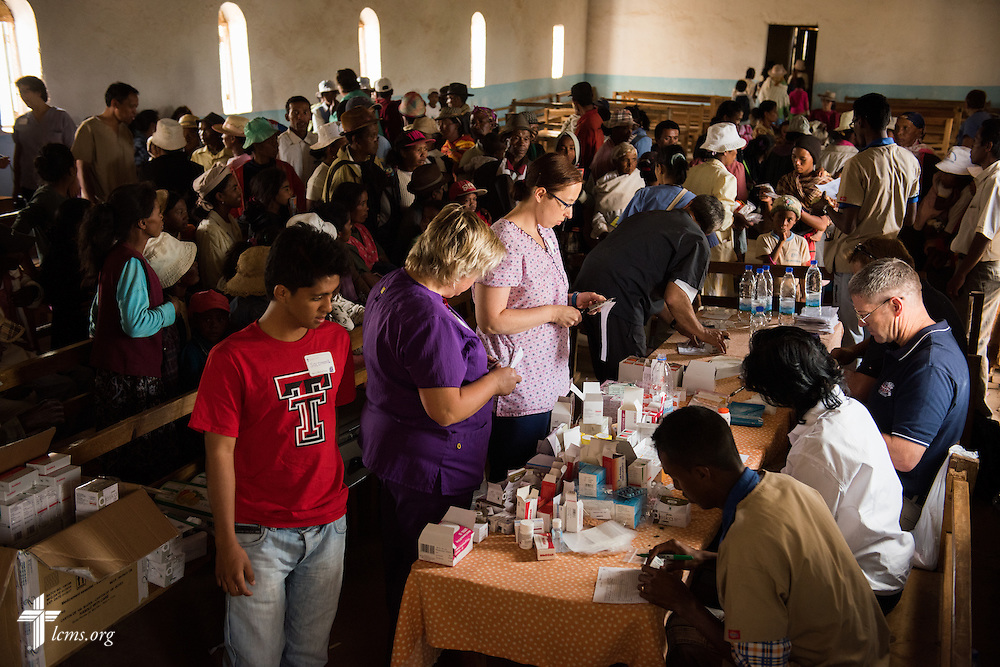 The Mercy Medical Team treats patients Saturday, Oct. 18, 2014, at a Fiangonana Loterana Malagasy (FLM) Lutheran church in Antsoantany, Madagascar. LCMS Communications/Erik M. Lunsford
