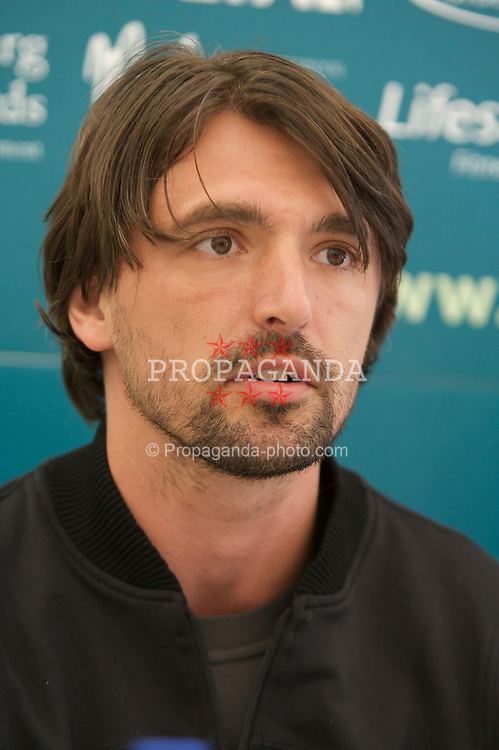 LIVERPOOL, ENGLAND - Tuesday, June 10, 2008: Goran Ivanisevic (CRO) at a press conference during the opening day of the Tradition-ICAP Liverpool International Tennis Tournament at Calderstones Park. (Photo by David Rawcliffe/Propaganda)