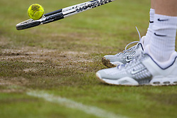 Liverpool, England - Saturday, June 16, 2007: A muddy Centre Court on day five of the Liverpool International Tennis Tournament at Calderstones Park. For more information visit www.liverpooltennis.co.uk. (Pic by David Rawcliffe/Propaganda)