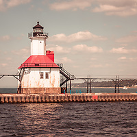 St. Joseph Lighthouse Vintage Photo. Picture includes the inner Saint Joseph Lighthouse and has a vintage 1970's retro tone applied. Photo is high resolution and was taken in 2013. Image Copyright © Paul Velgos All Rights Reserved.
