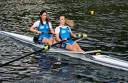 Lea Hren and Pia Potocnik (L) during practice session of Slovenian Youth Rowing team for European Championship 2018, on May 20, 2018, in Bled, Slovenia. Photo by Vid Ponikvar / Sportida