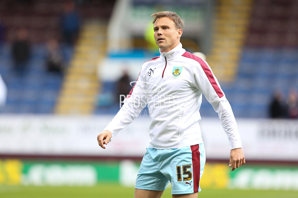 Matthew Taylor of Burnley warming up before the Sky Bet Championship match between Burnley and Cardiff City at Turf Moor, Burnley, England on 5 April 2016. Photo by Simon Brady.