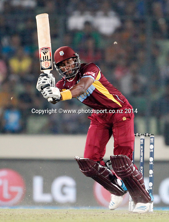 Dwayne Bravo batting - Pakistan v West Indies, Shere Bangla National Stadium, Mirpur, Bangladesh. 1 April 2014. Photo: www.photosport.co.nz
