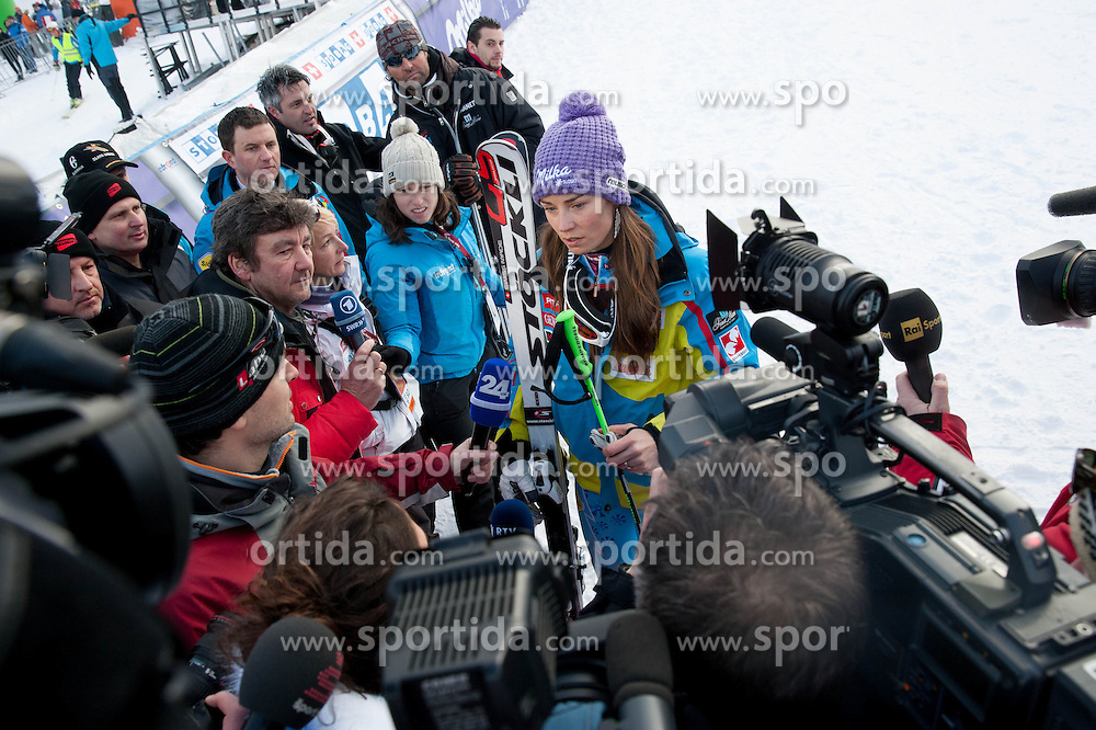 """MAZE Tina of Slovenia with journalists after she competed during the 2nd Run of FIS Alpine Ski World Cup 7th Ladies' Giant Slalom race named """"49th Golden Fox 2013"""", on January 26, 2013 in Mariborsko Pohorje, Maribor, Slovenia. (Photo By Vid Ponikvar / Sportida.com)"""