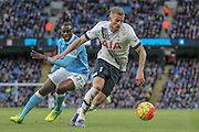 Toby Alderweireld (Tottenham Hotspur) clears the danger during the Barclays Premier League match between Manchester City and Tottenham Hotspur at the Etihad Stadium, Manchester, England on 14 February 2016. Photo by Mark P Doherty.
