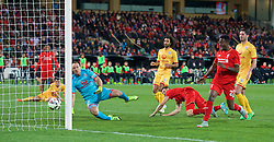 ADELAIDE, AUSTRALIA - Monday, July 20, 2015: Liverpool's James Milner scores the first goal against Adelaide United during a preseason friendly match at the Adelaide Oval on day eight of the club's preseason tour. (Pic by David Rawcliffe/Propaganda)