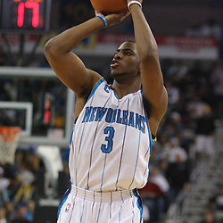 Jan 02, 2010; New Orleans, LA, USA; New Orleans Hornets guard Chris Paul (3) shoots against the Houston Rockets during the third quarter at the New Orleans Arena. Mandatory Credit: Derick E. Hingle-US PRESSWIRE