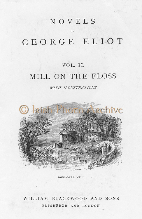 Dorlcote Mill, the home of the Tulliver family. Illustration from a late 19th century edition of  'The Mill on the Floss' by George Eliot originally published 1860