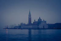 VENICE, ITALY - CIRCA MAY 2015: The Grand Canal and San Giorgio Maggiore at dawn in Venice.