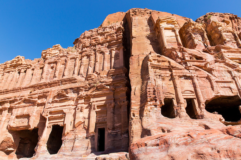 Jordan, Petra, Carved stone columns of Petra amid ancient ruins