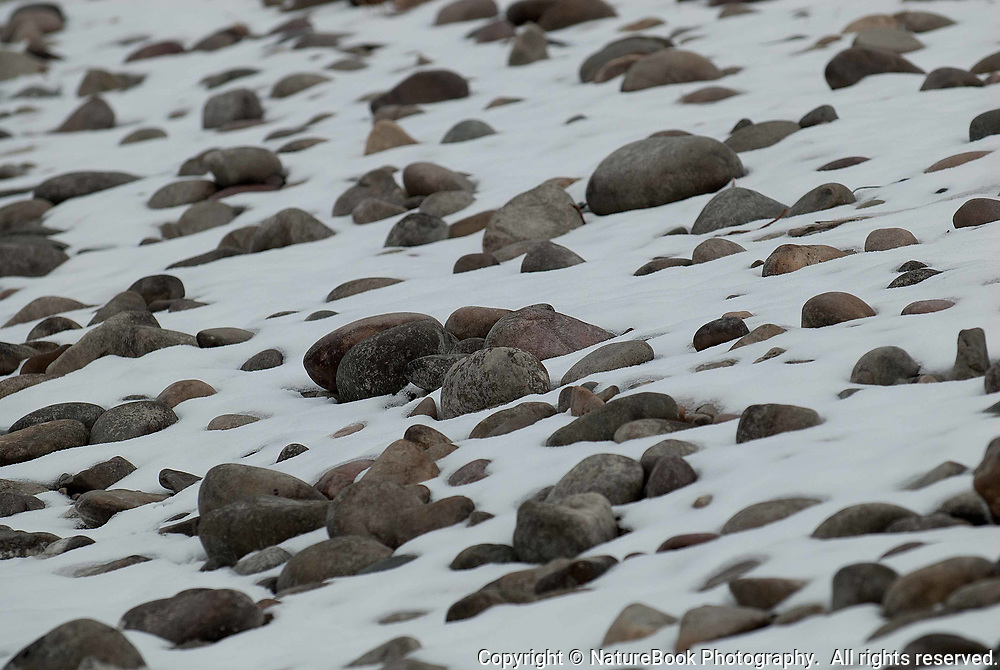 Snow provides a nice contrast for these smooth rocks at Grand Teton National Park.