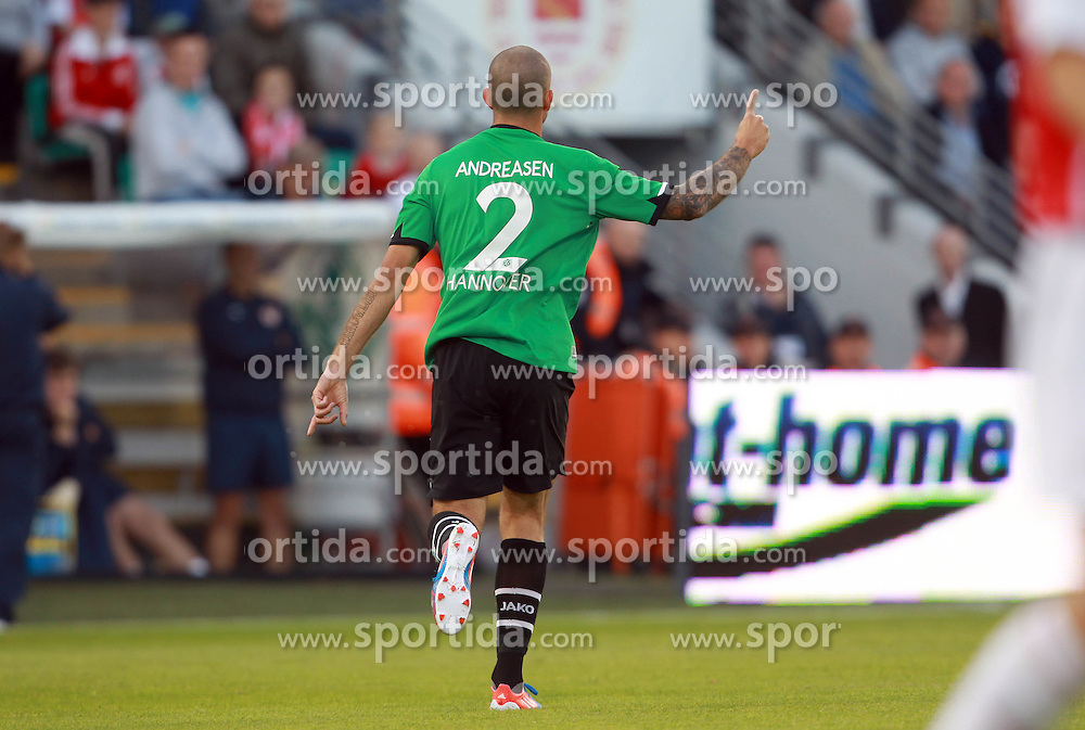 Europa League Third Qualifying Round 1st Leg, Dublin 2/8/2012.St. Patrick's Athletic vs Hannover 96.Leon Andreasen of Hannover turns away in celebration after scoring the first goal of the game. *** Local Caption *** © pixathlon