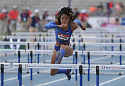 Jul 27, 2019; Des Moines, IA, USA; Erica Bougard runs 12.78 in the heptathlon 100m hurdles for the top time during the USATF Championships at Drake Stadium.
