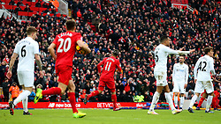 Roberto Firmino of Liverpool celebrates after scoring his sides first goal to make it 1-2 - Mandatory by-line: Matt McNulty/JMP - 21/01/2017 - FOOTBALL - Anfield - Liverpool, England - Liverpool v Swansea City - Premier League