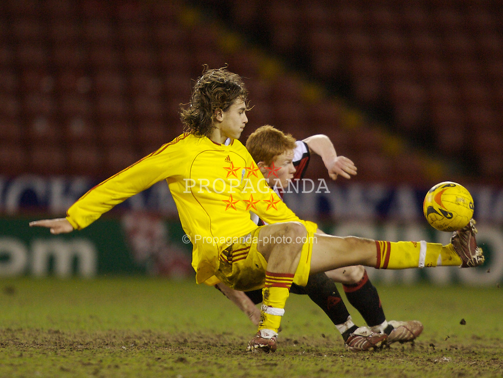 Sheffield, England - Thursday, February 15, 2007: Liverpool's Astrit Ajdarevic and Sheffield United's Keith Quinn during the FA Youth Cup Quarter-Final match at Bramall Lane. (Pic by David Rawcliffe/Propaganda)