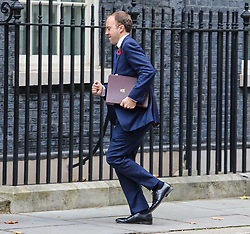© Licensed to London News Pictures. 29/10/2019. London, UK. Matt Hancock , Secretary of State for Health and Social Care arrives at 10 Downing Street for a Cabinet meeting…. As Boris Johnson tries to get his snap election poll through Parliament again this week. Photo credit: Alex Lentati/LNP