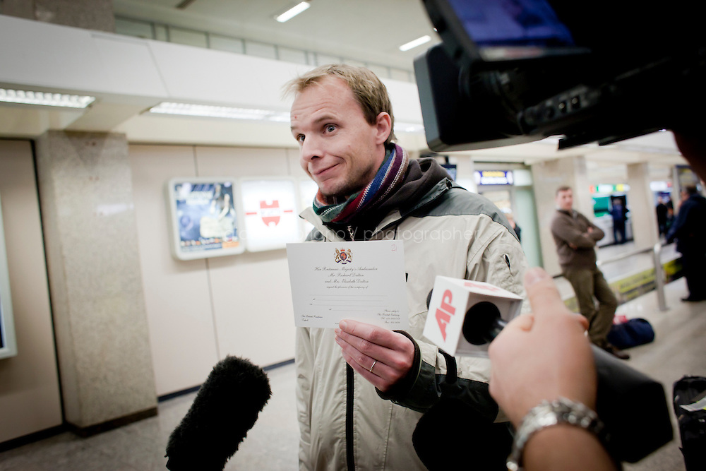 25 February 2011, Malta International Airport. Sam Dewhirst, an English teacher that has been working in the city of Sebha, Libya, arrives at the Malta International Airport showing an official invitation of the British Embassy in Libya that was given to him at the Tripoli airport as a boarding pass to flee Libya.<br /> <br /> A ferry sent by the U.S. that will bring American citizens out of Libya is finally on its way to Malta, leaving just after 6:30 a.m. EST Friday morning.  According to the State Department there are 285 passengers on board the Dolores, including 167 U.S. citizens and 118 people of other nationalities. For two days, rough weather in the Mediterranean Sea, with waves up to 16 feet high, had made it impossible for the ferry to leave. Thousands of foreigners have fled Colonel Gaddafi's regime as his forces continue to clash with anti-government demonstrators.<br /> &copy;2011 Gianni Cipriano<br /> cell. +1 646 465 2168 (USA)<br /> cell. +39 328 567 7923<br /> gianni@giannicipriano.com<br /> www.giannicipriano.com