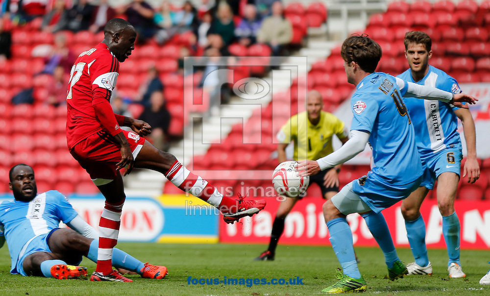 Albert Adomah of Middlesbrough shooting during the Sky Bet Championship match at the Riverside Stadium, Middlesbrough<br /> Picture by Simon Moore/Focus Images Ltd 07807 671782<br /> 26/04/2014