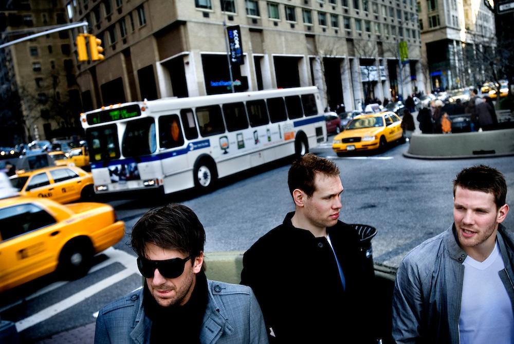 Henrik Lundqvist, Christian Bäckman and Fredrik Sjöström, swedish players in the New York Rangers, photographed on Broadway and 63rd street in New York...Photographer: Chris Maluszynski /MOMENT