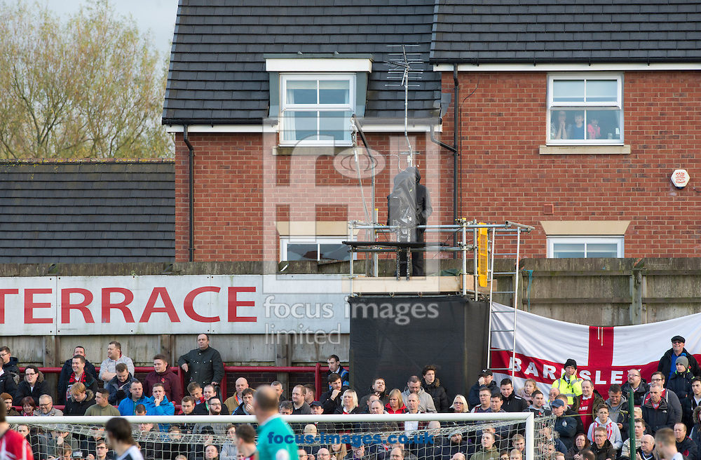A general view of the Barnsley end during the FA Cup match at Moss Lane, Altrincham<br /> Picture by Russell Hart/Focus Images Ltd 07791 688 420<br /> 07/11/2015