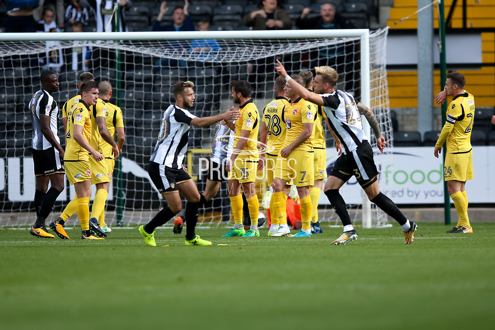 Notts County defender Daniel Jones (23) scores a goal and celebrates to make the score1-0 during the EFL Sky Bet League 2 match between Notts County and Morecambe at Meadow Lane, Nottingham, England on 9 September 2017. Photo by Simon Davies.