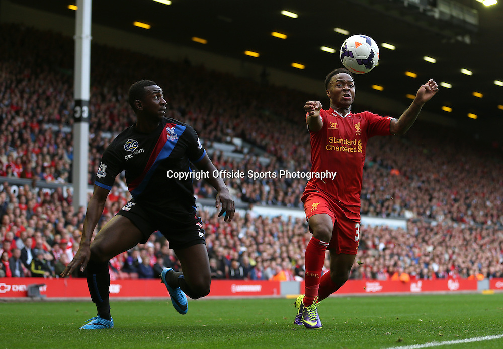 5th October 2013 - Barclays Premier League - Liverpool v Crystal Palace - Raheem Sterling of Liverpool and Yannick Bolasie of Palace - Photo: Simon Stacpoole / Offside.