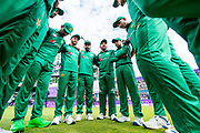 Picture by Allan McKenzie/SWpix.com - 19/05/2019 - Sport - Cricket - 5th Royal London One Day International - England v Pakistan - Emerald Headingley Cricket Ground, Leeds, England -  Pakistan's captain Sarfaraz Ahmed gets his team in a huddle pre-match against England at Headingley.