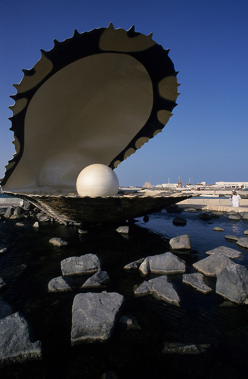 Qatar, Middle East, Asia, monument at the pearl-oyster in Doha.