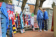 Young fans at the Hillsborough Memorial outside the stadium before the Sky Bet Championship match between Sheffield Wednesday and Cardiff City at Hillsborough, Sheffield, England on 30 April 2016. Photo by Ellie Hoad.