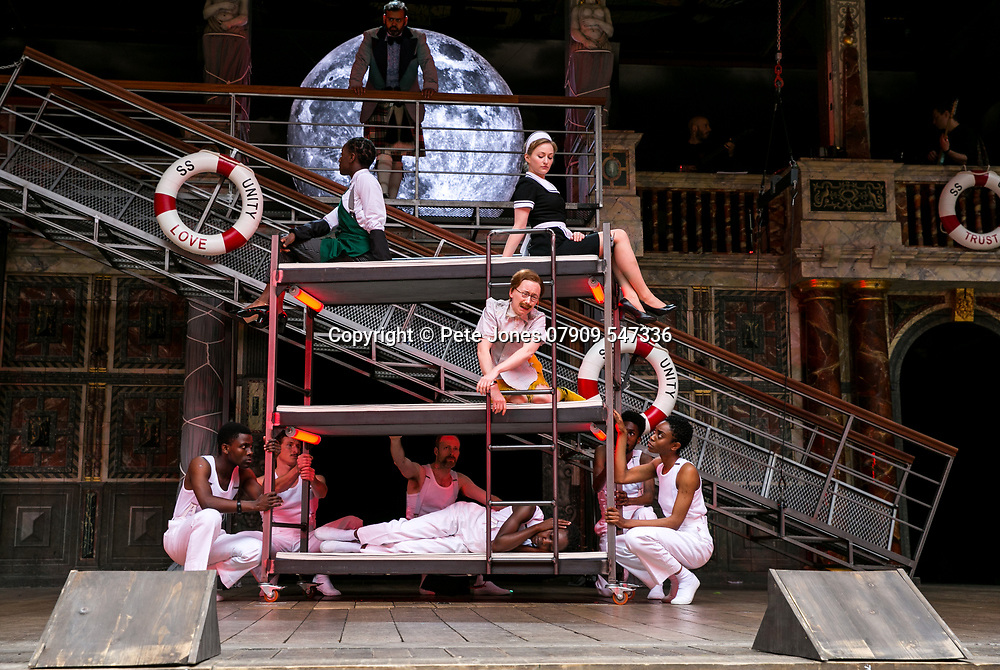 Twelfth Night by William Shakespeare;<br /> Directed by Emma Rice;<br /> Katy Owen as Malvolio;<br /> Carly Bawden as Maria the maid;<br /> Tony Jayawardena as Sir Toby Belch;<br /> Marc Antolin as Sir Andrew Aguecheek;<br /> Shakespeare's Globe;<br /> London, UK;<br /> 23 May 2017.<br /><br />© Pete Jones<br />pete@pjproductions.co.uk