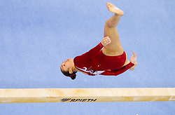 Victoria Kayen Woo of Canada competes in the Balance Beam during Final day 2 of Artistic Gymnastics World Cup Ljubljana, on April 27, 2013, in Hala Tivoli, Ljubljana, Slovenia. (Photo By Vid Ponikvar / Sportida.com)