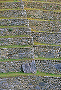 Dry-stone walls of Machu Picchu ruins of Inca citadel in Peru, South America