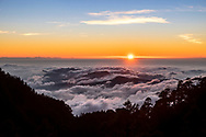 Sunset over Alishan as seen from Yushan (Jade Mountain), Taiwan.