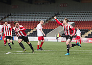 Owen Neave celebrates after firing home Argyle's second goal - Dundee Argyle v Dykehead AFC in the Scottish Sunday Trophy semi final at Excelsior Stadium, Airdrie, Photo: David Young<br /> <br />  - © David Young - www.davidyoungphoto.co.uk - email: davidyoungphoto@gmail.com