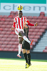 STOKE-ON-TRENT, ENGLAND - Wednesday, May 1, 2013: Stoke City's Marcel Barrington in action against Liverpool during the Premier League Academy match at the Britannia Stadium. (Pic by David Rawcliffe/Propaganda)