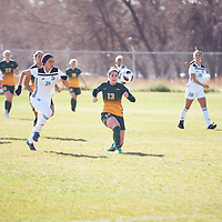 4th year forward, Sydney Langen (13) of the Regina Cougars during the Women's Soccer away game on Sat Oct 06 at Universtity of Saskatchewan . Credit: Arthur Ward/Arthur Images
