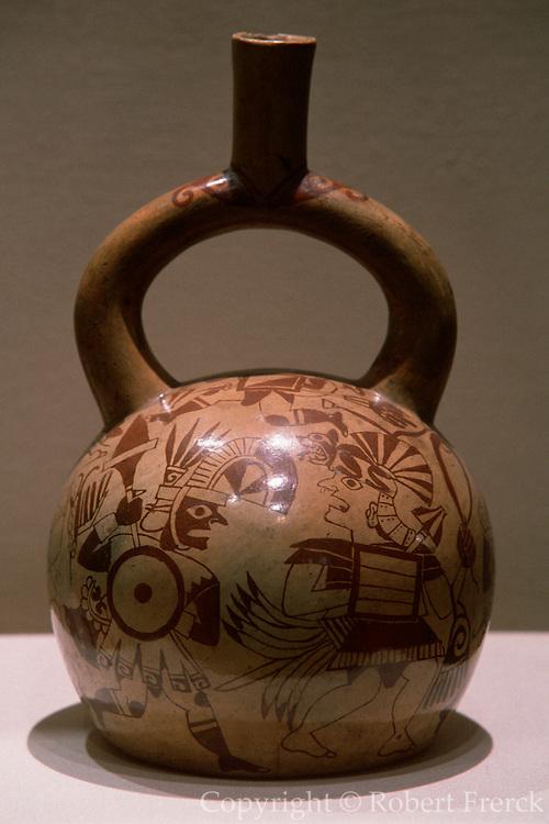 PERU, PREHISPANIC ARTIFACTS Mochica (Moche) Culture, 200BC-800AD; north coast; ceramic 'stirrup-spout' vessel with battle scene and warriors