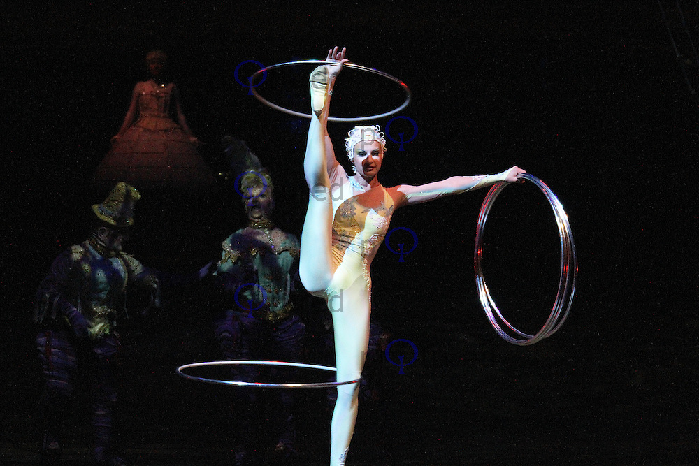 Manipulation; Maria Silaeva, Cirque Du Soleil Alegria opening night, O² Arena, London UK, 18 July 2013, (Photo by Richard Goldschmidt)
