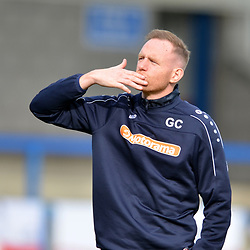TELFORD COPYRIGHT MIKE SHERIDAN Telford boss Gavin Cowan blows a kiss to a family member in the crowd during the National League North fixture between AFC Telford United and York City at the New Bucks Head on Saturday, October 12, 2019.<br /> <br /> Picture credit: Mike Sheridan<br /> <br /> MS201920-025