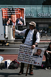 May 26, 2019 - Tokyo, Japan - Trump supporters are seen holding up banners and slogans in Shinjuku, Tokyo. President Trump arrived on Saturday for a four-day state visit to Japan, the first official visit of the Reiwa era. (Credit Image: © Keith Tsuji/ZUMA Wire)
