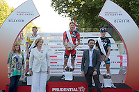 Winners of the Surrey Classic on the Podium.<br /> Prudential RideLondon , Sunday 2nd August 2015. <br /> <br /> Prudential RideLondon is the world's greatest festival of cycling, involving 95,000+ cyclists – from Olympic champions to a free family fun ride - riding in five events over closed roads in London and Surrey over the weekend of 1st and 2nd August 2015. <br /> <br /> Photo: Paul Gregory<br /> <br /> See www.PrudentialRideLondon.co.uk for more.<br /> <br /> For further information: Penny Dain 07799 170433<br /> pennyd@ridelondon.co.uk