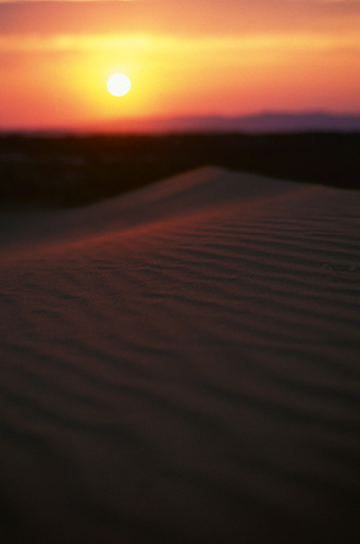 Sunrise across the sand dunes in the Gobi Desert, Mongolia.