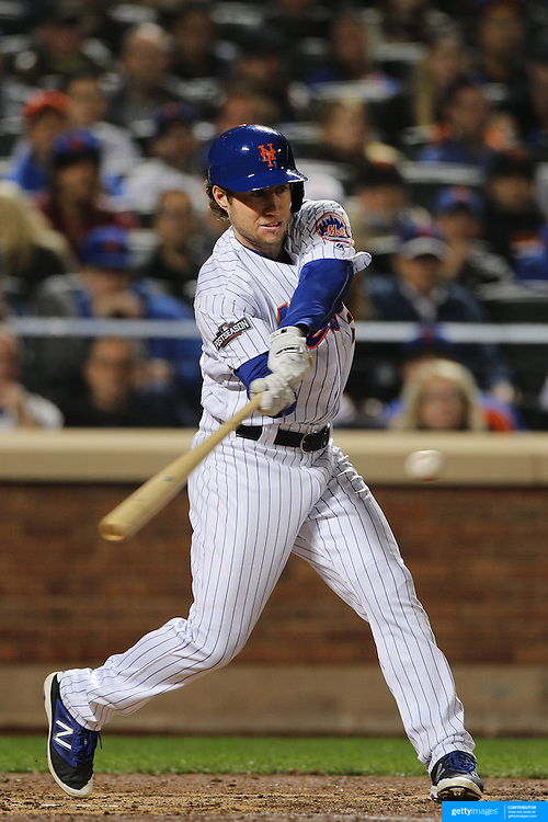 NEW YORK, NEW YORK - October 5: Ty Kelly #56 of the New York Mets batting during the San Francisco Giants Vs New York Mets National League Wild Card game at Citi Field on October 5, 2016 in New York City. (Photo by Tim Clayton/Corbis via Getty Images)